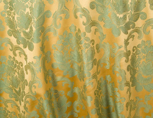 Antique Gold & Sage Mozart Damask
