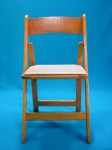 Natural Wood Padded Folding Chair