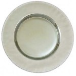 Silver Iridescent Glass Charger Plate