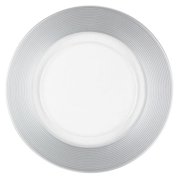 Silver Thick Rim Glass Charger Plate
